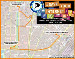 Demoroute am 23.3.19 in Düsseldorf zu #SaveYourInternet.